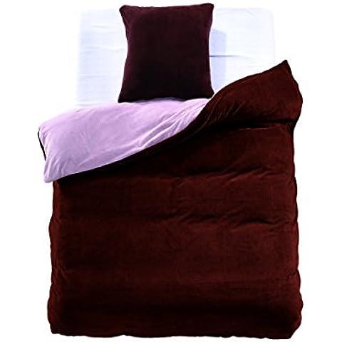 Cama con 1o 2fundas de almohada 80x 80microfibra suave caliente invierno cálido Edredón de cama marrón acero Brown Steel Furry, microfibra, stahl braun, 135 x 200
