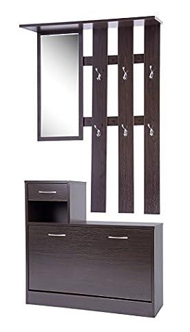 ts-ideen Set Wand-Garderobe Spiegel Schuhkipper Schuhschrank mit Schublade Holz dunkelbraun