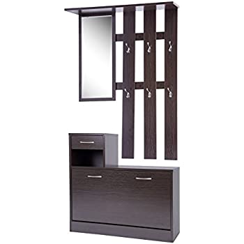 ts ideen set wand garderobe spiegel schuhkipper schuhschrank mit schublade holz dunkelbraun. Black Bedroom Furniture Sets. Home Design Ideas