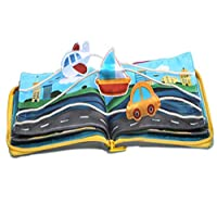 beiens Quiet Books 9 kinds Vehicle Identify Skill Boys and Girls, Ultra Soft Baby book Touch and feel Cloth Book, 3D Books Fabric Activity for Babies /Toddlers, Learning to Sensory Busy Book