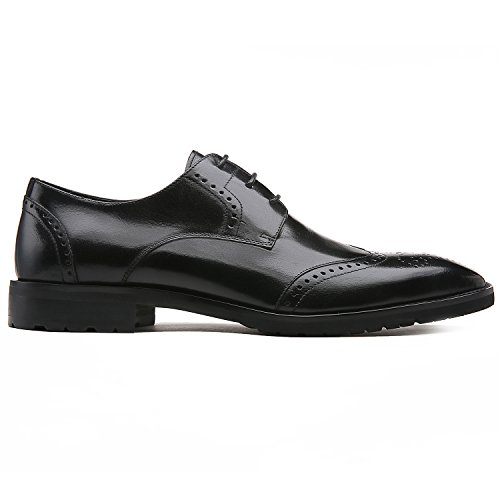 GIFENNSE Men's Classic Modern Oxford Wingtip Lace Dress Shoes (12UK/47, Black)