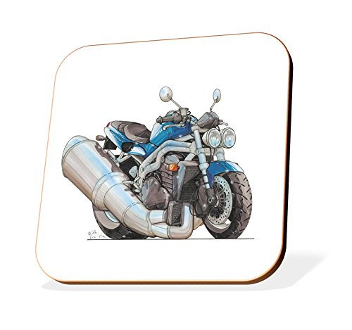 K1181-CST Koolart Gifts Cartoon Triumph Speed Motorcycle Wooden Coaster for Cups & Mugs (Motorbike Gifts & Gift Ideas)