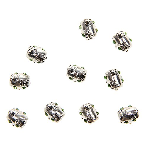 10x Argent Antique Chat Cristal Strass Perle en Vrac Fabrication Bijoux Bricolage-14x9x9mm vert