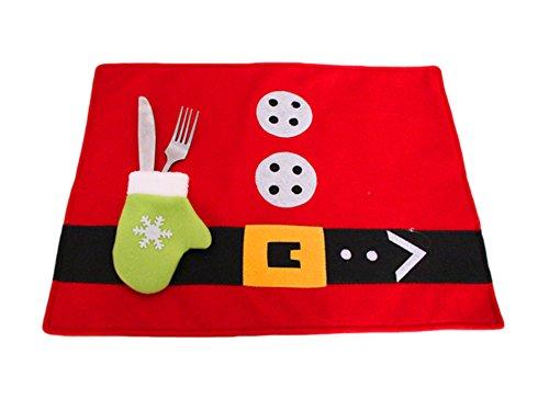 """2er Set Platzset Weihnachten, Tischset """"Christmas"""" von La Loria – Weihnachtliche Platzsets in Rot"""