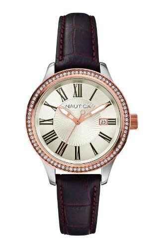 Nautica Women's Quartz Watch A12654M with Leather Strap