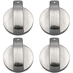 xutong - Lot de 4 boutons en métal argenté pour cuisinière à gaz, four ou plaques de cuisson - diamètre trou de fixation 6 mm