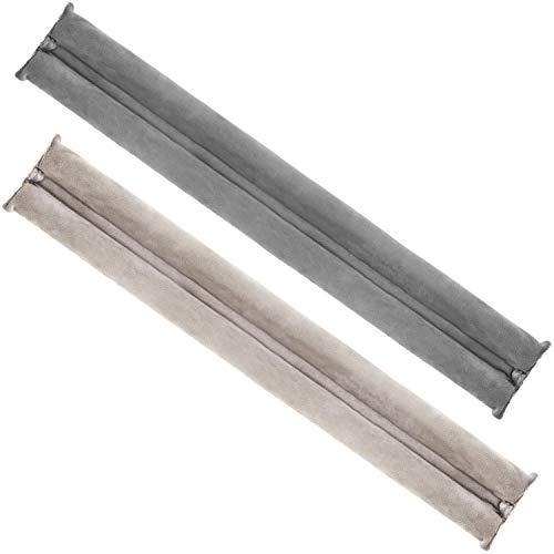 com-four® 2X Zugluftstopper für die Tür - Mikrofaser Türbodendichtung - Luftzugstopper mit Doppeldichtung - Schutz vor Luftzug und Lärm (02 Stück - anthrazit/beige)
