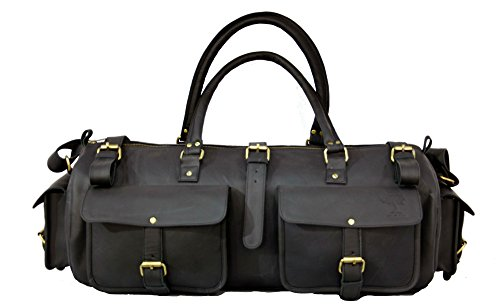 22 Inch Real Leather Travel Bag Vintage Duffel Men's Gym Cabin Luggage Holdall Check in Cabin Luggage (Coach Bag Outlet)