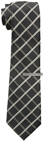 little-black-tie-mens-verizon-grid-plaid-necktie-with-tie-bar-black-taupe-one-size