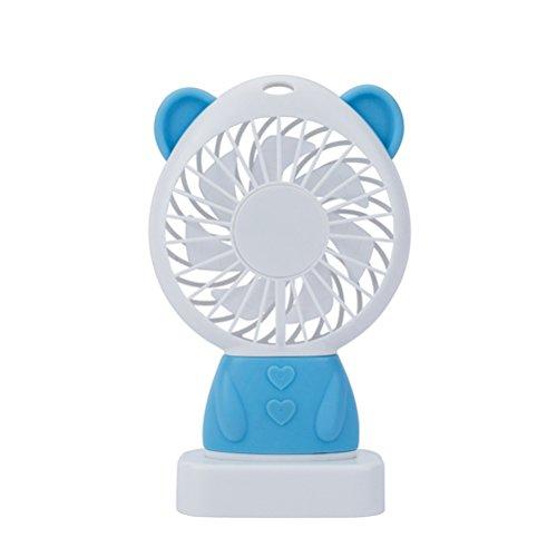 Threecat Ventilator Leise, Bär Form,Handventilator mit LED USB, Mini Tragbar Fan für Büro, Zuhause,Sommeraußen, Reisen, Camping Blau