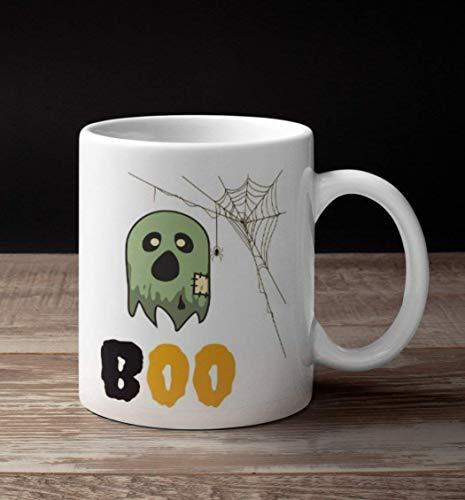 st Boo Tasse Spider Coffee Mug Tea Cup Orange Green Cute Spider Web Box Keramik Halloween Geschenk 312 ml weiß ()