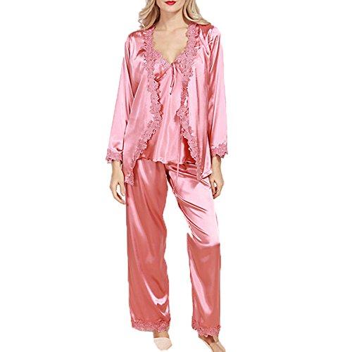 Seta Ms. Primavera Pizzo A Maniche Lunghe Sexy In Tre Pezzi Pigiama Pink