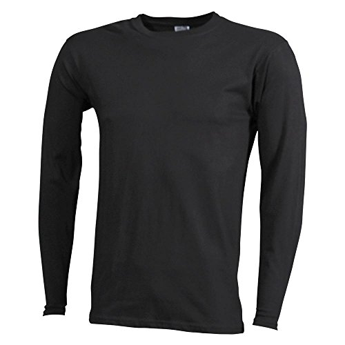 Herren Shirt Longsleeve Medium Langarm T-Shirt, Größe:L;Farbe:Schwarz
