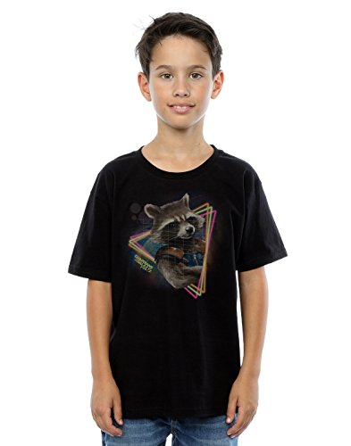 Marvel Jungen Guardians of the Galaxy Neon Rocket T-Shirt 12-13 years Schwarz (Lizenziertes Tee Marvel T-shirt)