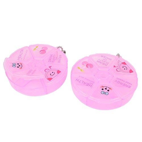 Brief-fach Klar (sourcingmap Deaktivieren Sie rosa Kunststoff 3 fach Runde Pille Storage Box 2 Stk)