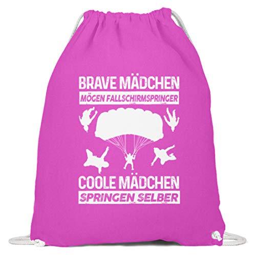 shirt-o-magic Fallschirmspringen: Coole Mädchen springen selber - Baumwoll Gymsac -37cm-46cm-Fuchsia