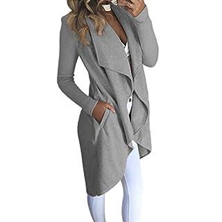 ECOWISH Damen Maxi Offene Cardigan Strickjacke Asymmetrisch Strickmantel Mantel mit Tasche Grau L