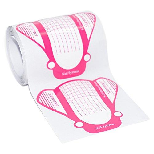 1 Packung (50 Stück) selbstklebende BUTTERFLY Pink Modellier Schablonen extra-breit für die künstliche Fingernagel-Modellage