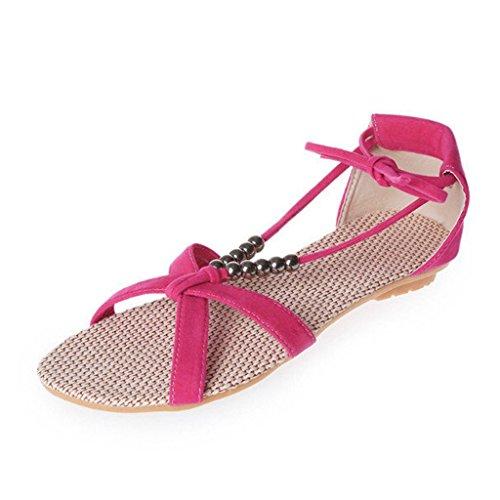 Minetom Casual Sandali da Donne d'estate Scarpe Pantofole con Perline Nastri Accessorio Vacanza Rose