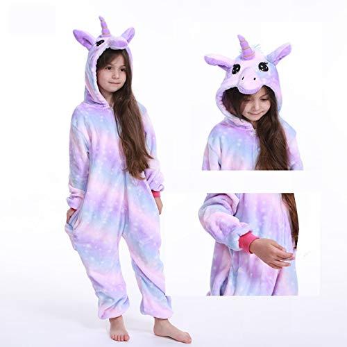 Einhorn Pyjama Jumpsuit Kinder Kigurumi Baby Body Unicorn Pyjamas for Kinder Animal Cartoon Blanket Sleepers Baby-Kostüm Winter-Jungen-Mädchen Licorne Jumspuit (Color : O, Size : 10T) -