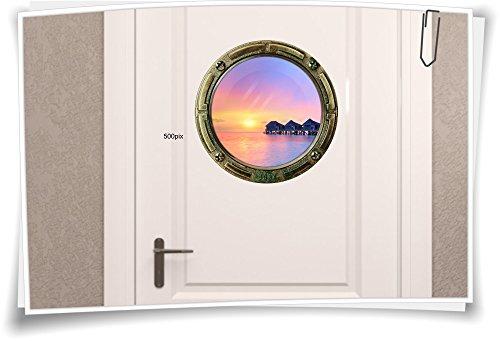 Medianlux Bullauge Türaufkleber Tür Aufkleber Meer Sonnenuntergang Hütten WC Toilette Bad, 40x40cm