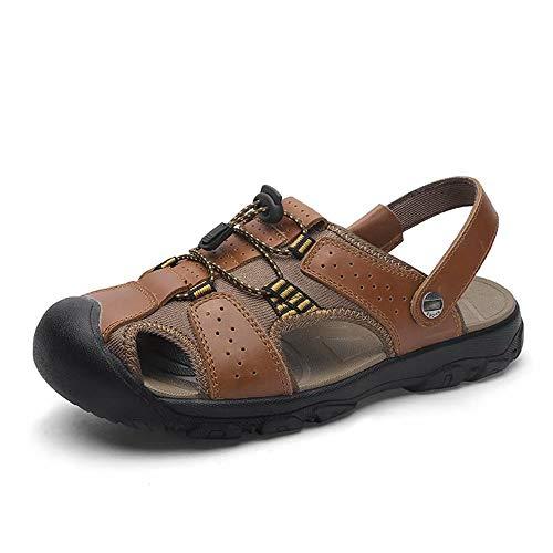 Sandalias Hombre Cuero Playa Verano Sandalias Puntera Cerrada Trekking Senderismo Zapatos Al Aire Libre Piscina Negro Marrón Verde EU 38-50 Marrón 40