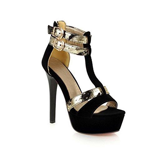 balamasa pour femme double boutonnage couleurs assorties givré Sandales Noir