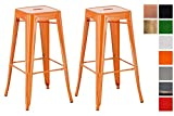 CLP 2er Set Barhocker Joshua Mit Fußstütze I Stapelbarer Tresenhocker Mit Einer Sitzhöhe Von: 77 cm I Orange