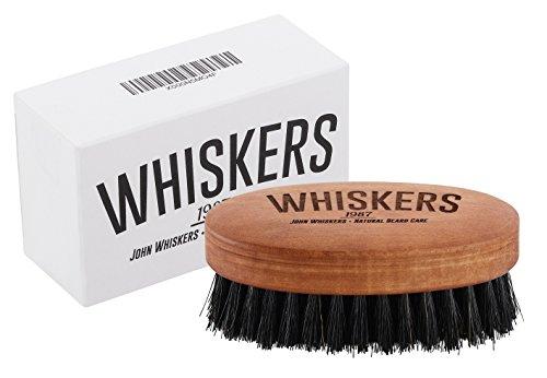 John Whiskers Bartbürste - Made in Germany - reine Wildschweinborsten – Härtegrad Medium - 90x50mm - Perfekte Bart - und Vollbart-Pflege