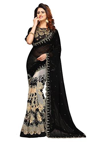 Sunshine Fashion Women's Georgette & Mono Net & Banglori Silk Fabric Saree...
