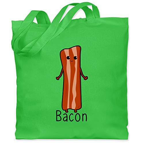 Shirtracer Karneval & Fasching Kinder - Bacon Partnerkostüm - Unisize - Hellgrün - WM101 - Stoffbeutel aus Baumwolle Jutebeutel lange Henkel