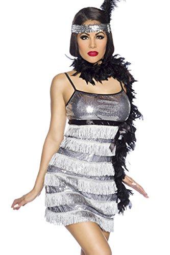 Charleston Kostüm Kleid, 3-teilig Silber-Schwarz