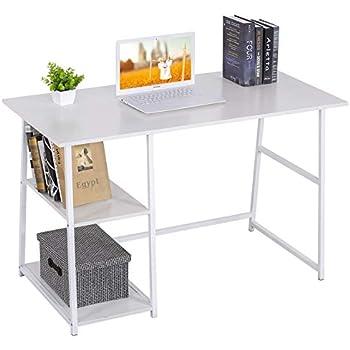 SoBuy FWT29-W Bureau Informatique Secr/étaire Table Plan de Travail avec 3 /étag/ères Cadre m/étal Blanc