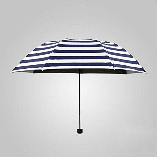 YNG Regen und Blauer Regenschirm kreativer Marine-Blau-Gestreifter faltender Regenschirm-Schwarzer Gummi-männlicher Regenschirm-Regenschirm-Regenschirm -