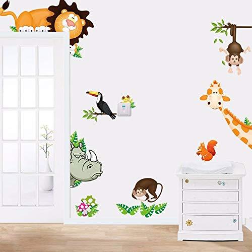 CAOQAO Jungle Animal Bambini Mamme Bambini, 90X30 cm, Materiale PVC, Sinistra e Destra Doppio Aperto, Decorativo + Full Shading, Adesivi murali casa Decalcomanie Adesivi mu