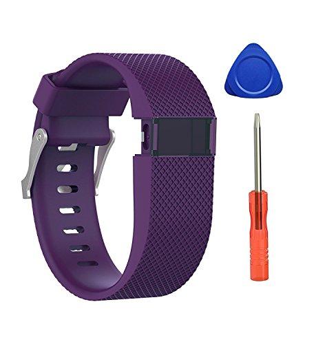 """Neueste Fitbit Charge HR Strap Armband, BeneStellar Einstellbare Silikon Ersatz Kleine Große Band Armband Strap für Fitbit Charge HR Wireless Activity Wristband (Pflaume 1-Pack, large (6.2""""-7.6""""))"""