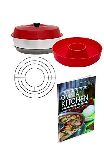 Omnia Backofen 4-teiliges Spar-Set   Backofen + Silikon-Backform 2.0 + One-Pot, Aufläufe & Gratins Kochbuch + Aufbackgitter