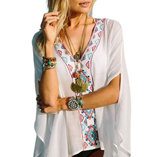 Damen Chiffon halbe Fledermausärmel-Oberteil, Ethno-Stil, mehrfarbig, dreieckig, bestickt, tiefer V-Ausschnitt, Übergröße, halb-durchsichtige Bluse