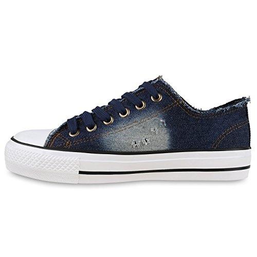 Sneakers Low Damen Denim Schuhe Used Look Fransen Jeans Optik Dunkelblau