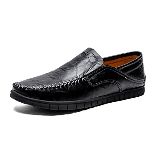 HENGJIA Herren Klassische Loafers Freizeitschuhe Schlupfhalbschuhe Bequeme Fahrerschuhe WS9139 Schwarz