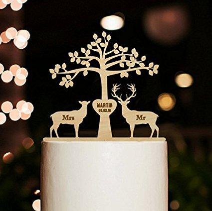 Hochzeitstorte Hirsch Toppers (Gravur Herr und Frau Hirsch und Buck Baum Hochzeit Tortenaufsatz personalisierbar für Kuchen Dekorationen)