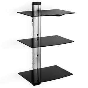 tectake wandhalterung f r dvd player receiver 3 ablageb den schwarz heimkino tv. Black Bedroom Furniture Sets. Home Design Ideas