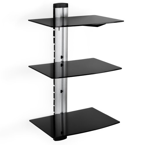 TecTake Wandhalterung für DVD Player, Receiver (3 Ablageböden) schwarz (Wandhalterung Bluray-player)