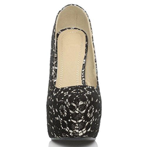 Escarpins de fête à talons hauts et plateforme cachée femmes chaussures taille Dentelle noire et argent