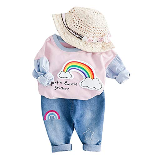 Kleinkind Kinder Baby Mädchen Regenbogen Print T-Shirt Tops Jeans Hosen Outfits Set (Rosa,90/10) ()