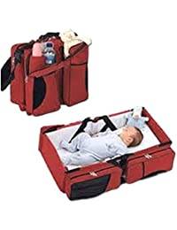 Babies Bloom Red Portable Multifunctional Baby Travel Bed Cot/Bassinet And Folding Mummy Diaper Bag