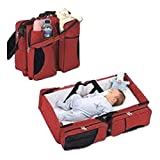 #9: Babies Bloom Red Portable Multifunctional Baby Travel Bed Cot/Bassinet And Folding Mummy Diaper Bag