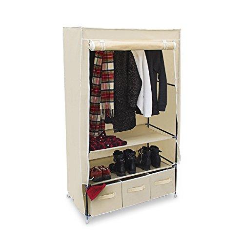 Relaxdays Faltschrank VALENTIN L H x B x T: 162 x 88 x 48 cm Stoffschrank mit 3 Schubladen und 2 Ablagen Textilschrank zum staubsicheren Aufbewahren Kleiderschrank aus Vlies-Gewebe zum Falten, beige