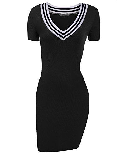 tontes Strickkleid Stricken Pullover Langarm mit V-Ausschnitt kurzärmliges stricken Freizeitkleid Casual Elegant Kleid eng (EU 42(Herstellergröße_XL), Kurzärmlig Schwarz) (Damen Stricken Kleider)