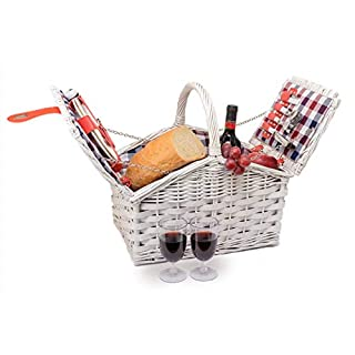 Miyagi Tea Europe Natural Wicker Picnic Hamper for 2 Persons with Double Lids with Canvas Lining